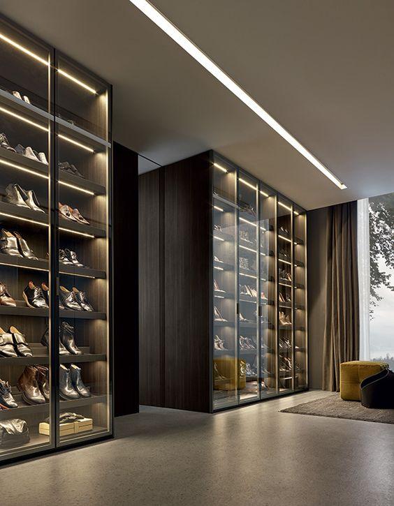 portas de vidro closets sapato