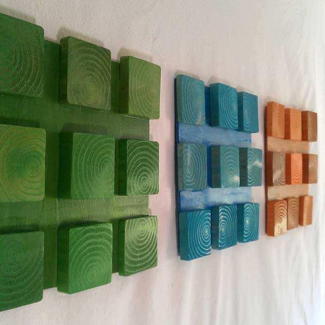 Arte com blocos de madeira