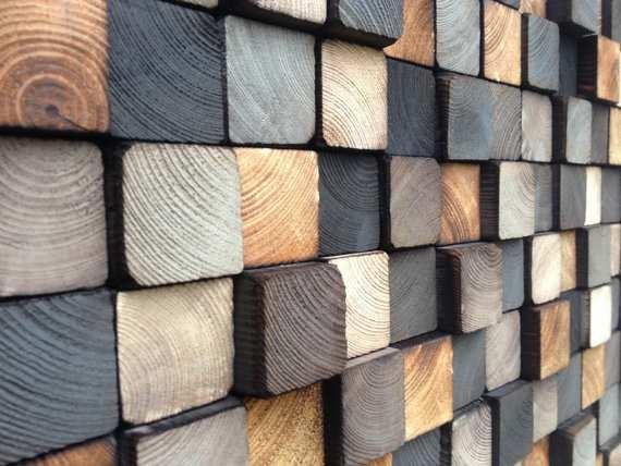 Stone Wall Elevation Drawing : Painel para parede com blocos de madeira