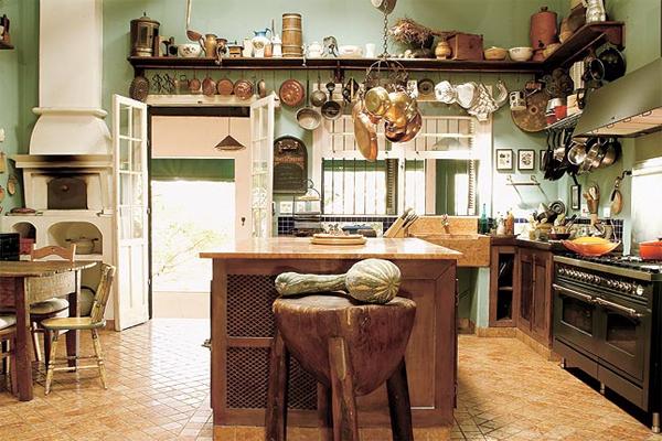 Cozinha simples em casas de fazenda
