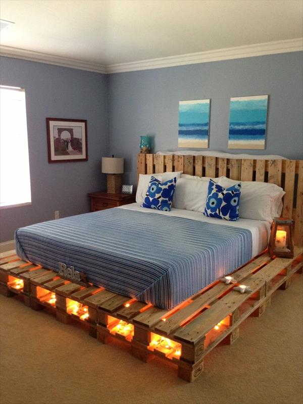 Iluminação na base da cama