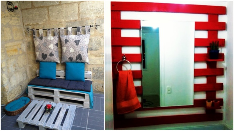 Painel de pallet para banheiro vermelho