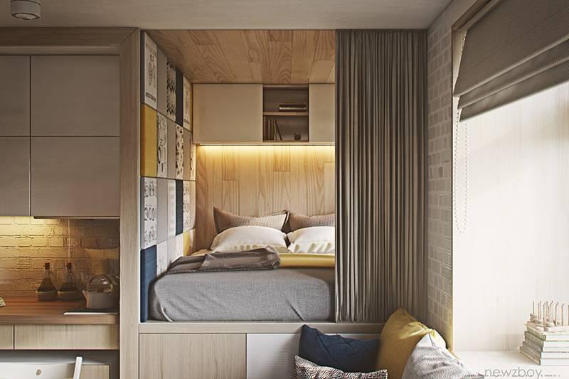 cama atras da cortina