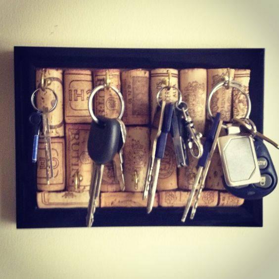 porta chaves de rolhas de cortiça