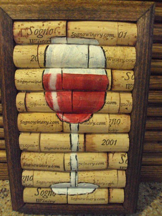 quadro de rolhas taça de vinho