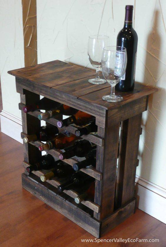 Bar de pallet adega de vinho e outras ideias para seu for How to make a wine rack out of pallet wood