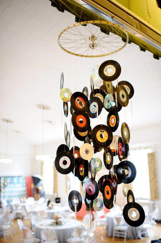 abajur de discos de vinil