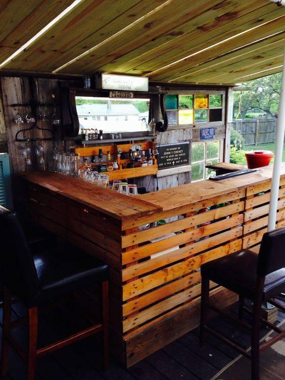 Bar de pallet adega de vinho e outras ideias para seu for Bar rustico de madera