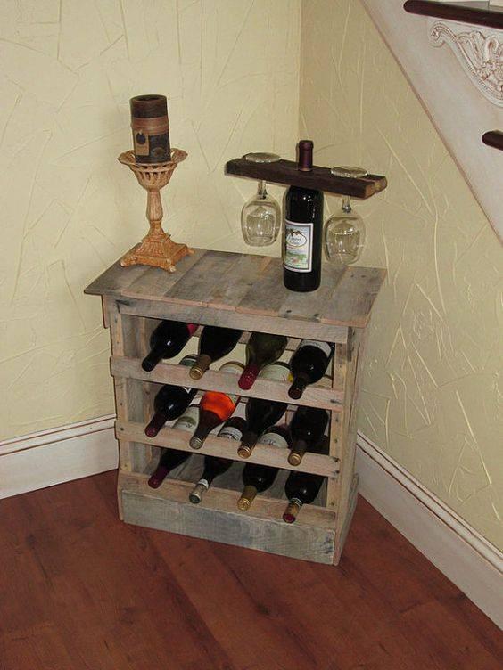 Bar de pallet adega de vinho e outras ideias para seu - Weinregal palette ...