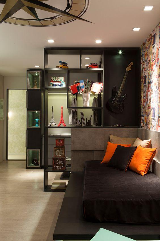 apartamento decorado em preto