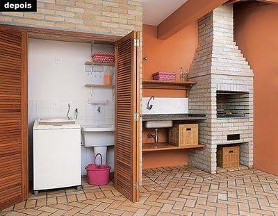 area de lazer pequena com lavanderia pequena
