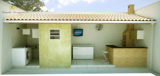 area de lazer pequena com lavanderia