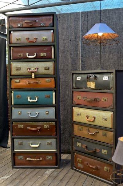 gavetas com malas vintage