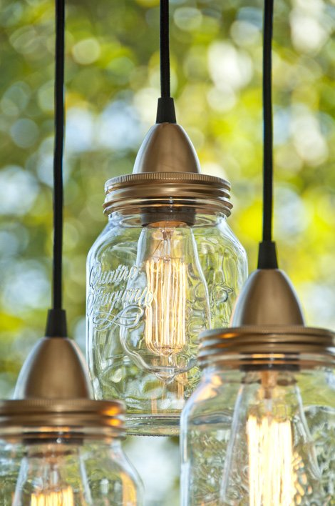 veja como fazer lumin ria pendente em pote de vidro. Black Bedroom Furniture Sets. Home Design Ideas