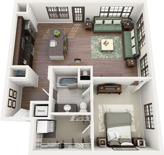 Casas pequenas conhe a fachadas projetos dicas e decora o for One bedroom apartment designs example