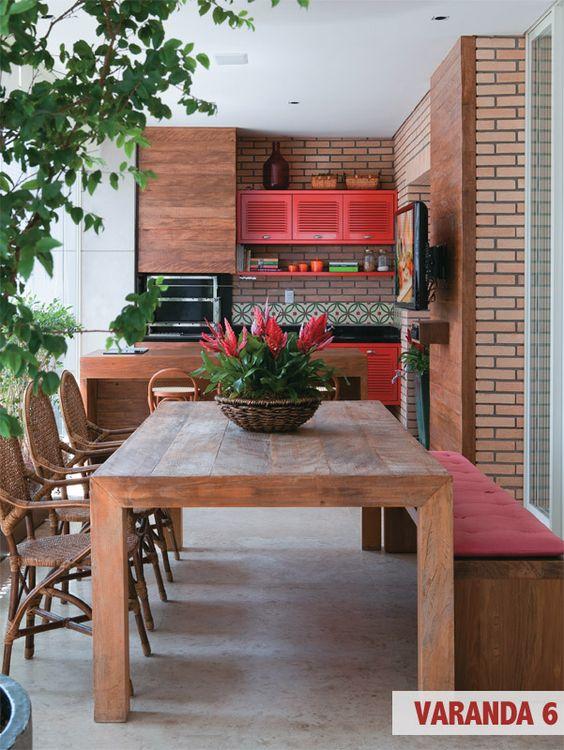varanda com churrasqueira em madeira
