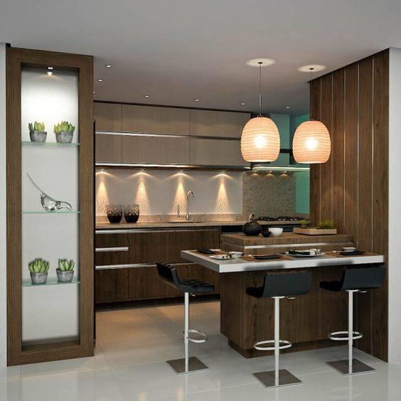 cozinha com iluminação aparente