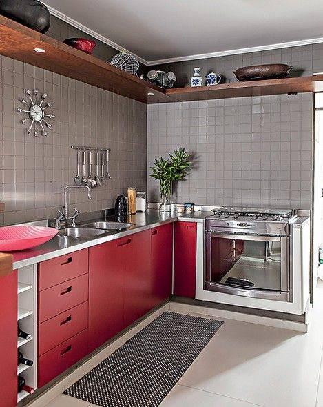 cozinha portas em vermelho