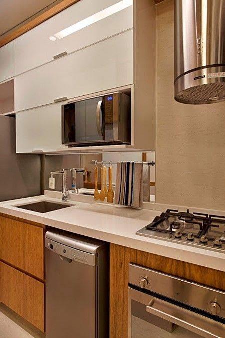 Cozinha Planejada  107 modelos que vão mudar sua vida [Fotos] # Cozinha Pequena Inox Ou Branco