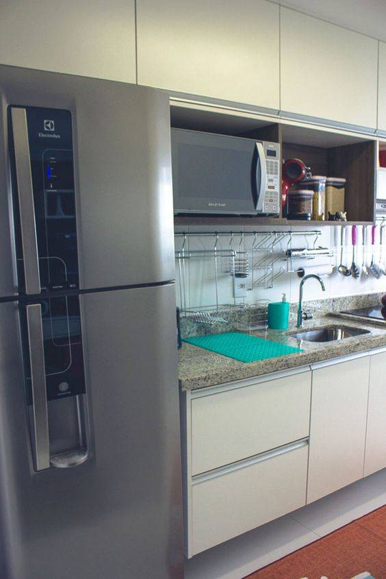 Cozinha Planejada  107 modelos que vão mudar sua vida [Fotos] # Armario De Cozinha Em Cima Da Geladeira