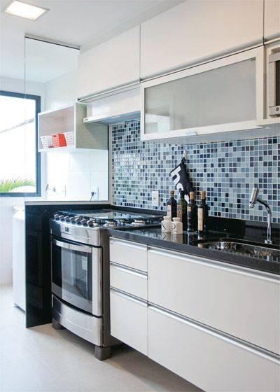 pisos azuis na cozinha projetada