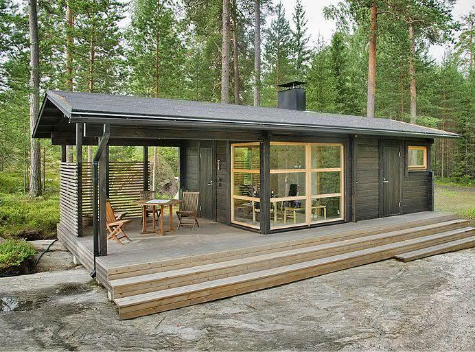 Casas de campo feita com contêiner pequena