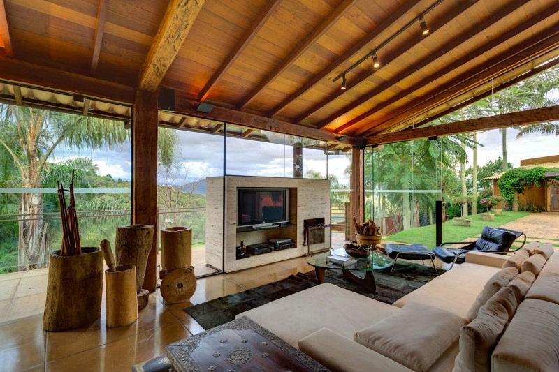Casas de campo modernas com madeira