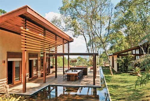 casa de campo com detalhes modernos