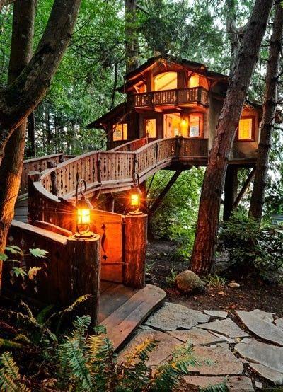 casa de campo iluminada