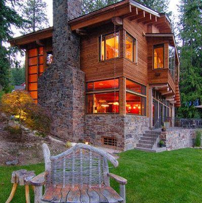 Casa de campo veja mais de 60 fotos incr veis - Fachadas rusticas de piedra y madera ...