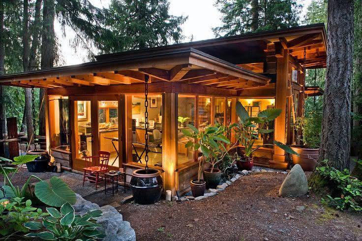 casas de campo madeira e vidro aberta