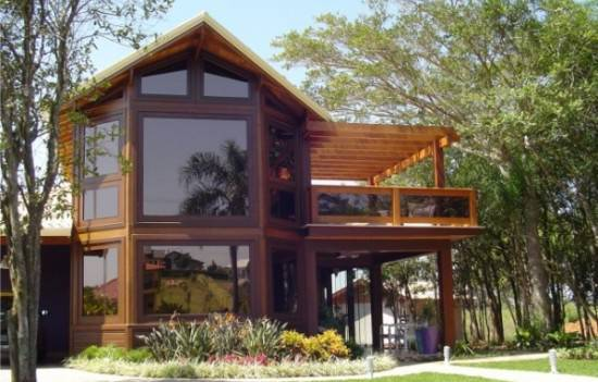 casas de campo madeira e vidro