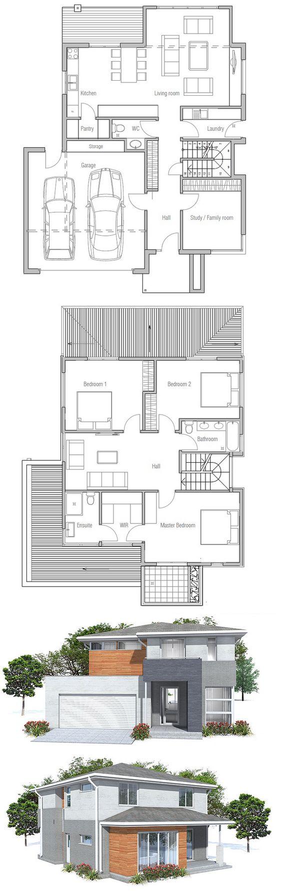 Fotos de plantas de casas com fachadas 3 quartos