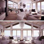 Fotos de plantas de casas com fachadas acabamento em madeira