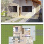 Fotos de plantas de casas com fachadas com tijolos claros