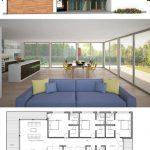 Fotos de plantas de casas com fachadas com vidro azul
