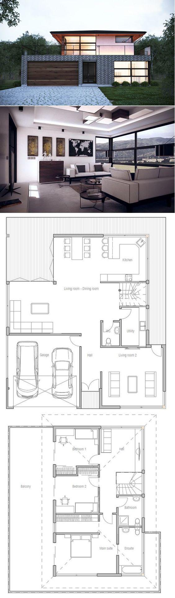 Fotos de plantas de casas com fachadas dois andares e garagem