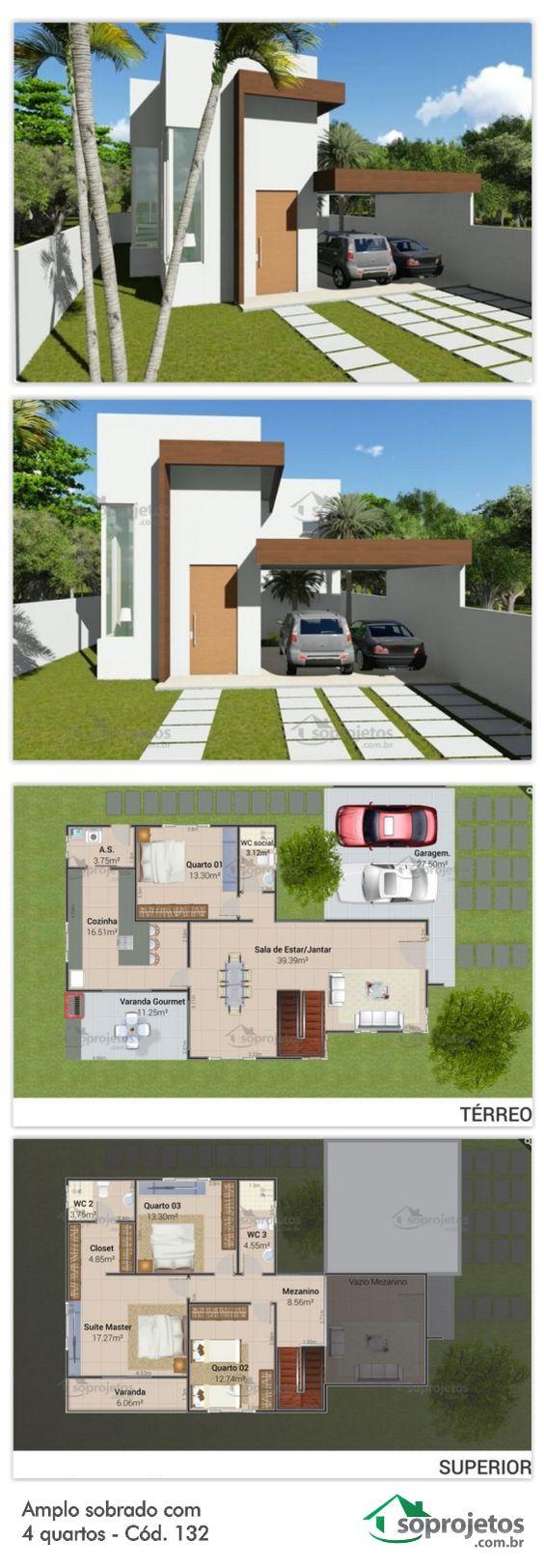 Fotos de plantas de casas com fachadas moderna com garagem
