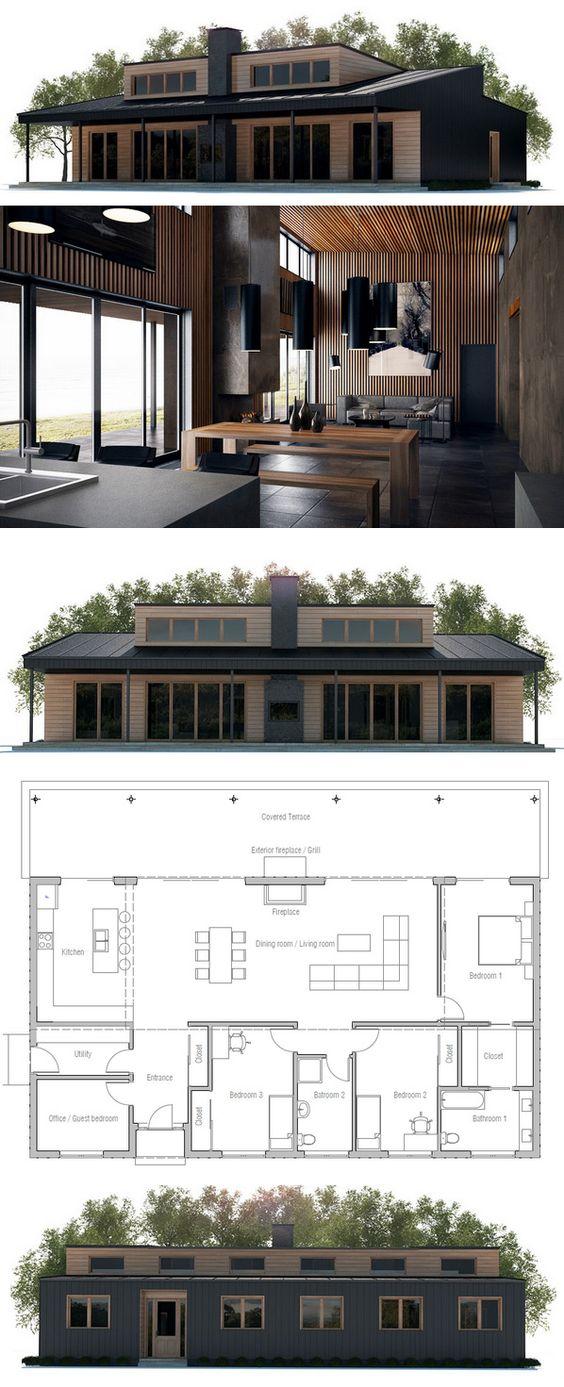 Fotos de plantas de casas com fachadas moderna de madeira
