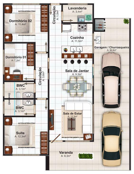 Imagens de plantas de casas com cozinha grande