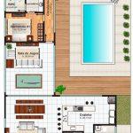 Imagens de plantas de casas com picina retangular