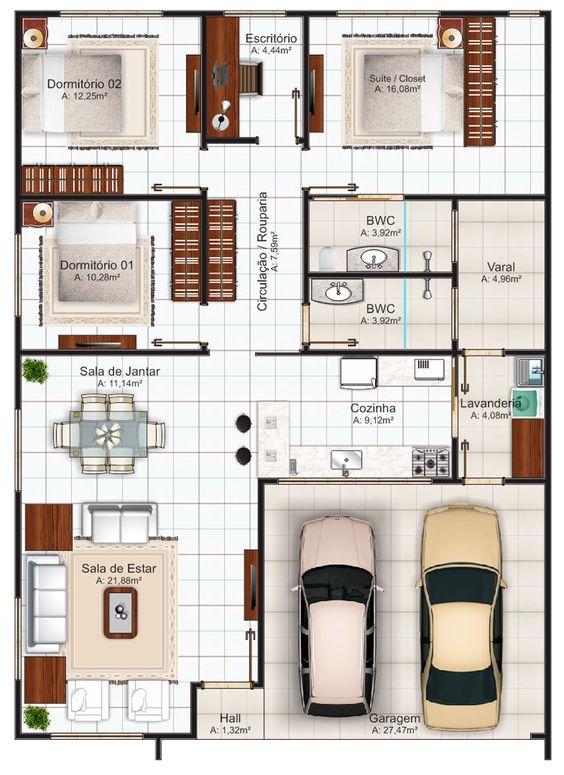 Imagens de plantas de casas dois quartos de casais