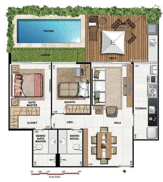 Imagens de plantas de casas quadrada
