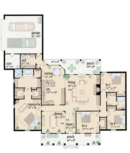 Planta baixa de casas 3 quartos