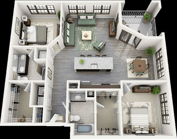 Plantas de casas 3D brancas