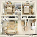 Plantas de casas 3D dois quarto e cozinha