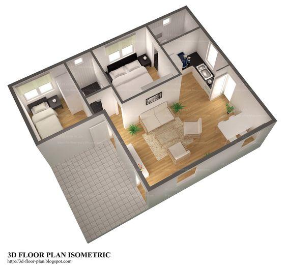 Plantas de casas 3D dois quartos