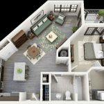 Plantas de casas 3D retangular