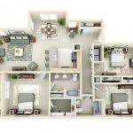 Plantas de casas 3D tres quartos