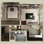 Plantas de casas 3D um quarto